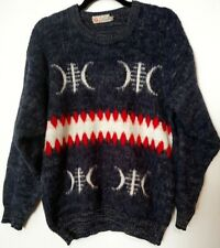 Men's Vintage,Oswal,Navy/Red,Tr ibal,Ethnic,Warm,Winter,Wo ol,Ski,Sweater,Sz M