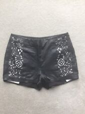 Topshop soft real leather perforated Laser Cut sexy shorts hot pants UK12