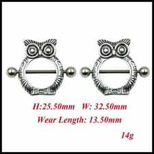 Rhodium Owl Nipple Shape Piercing Shield Bars Steel Piercing For Woman Men UK