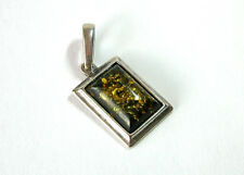 Reconstituted* GREEN AMBER Pendant in 925 Silver Setting ~ Pre-owned ~ Vintage?