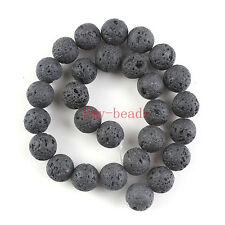 "14mm Natural Black Lava Rock Round Shape DIY Gemstone Loose Beads Strand 15"""