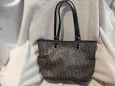 "Calvin Klein  Black & Taupe Logo Design Faux Leather Tote Handbag - 14"" x 10"""