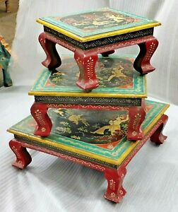 VINTAGE SOLID WOODEN HAND HUNTING PAINTED BAJOT SET OF 3