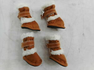 PET LIFE F4BRXS 'DUGGZ' Shearling Insulated Pet Booties, X-Small, Brown/White