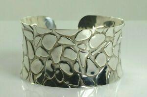 Designer Inspired Pebbled Cuff Bracelet in Sterling Silver