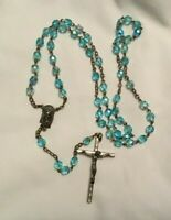 Vintage Religious Blue Glass Bead Rosary