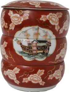 Kutani 3 Stacking Bowls With Lid Japanese Porcelain