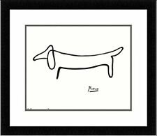 FRAMED The Dog (Le Chien) Drawing by Pablo Picasso 14x11 Art Print Double Mat