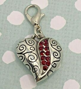 Brighton GO RED Garnet Row Of Crystals Heart Two-Sided Silver Scroll ABC Charm