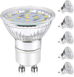 GU10 LED Light Bulbs 50W Halogen Bulbs 5 Pack 5000K Daylight White NEW