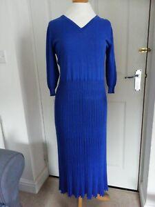 David Nieper blue Fine Knit Pleated  Dress UK14
