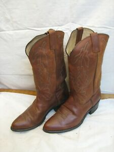 Mens Vintage Dan Post Leather Western Cowboy Boots Calf Length Marlboro 9 EW