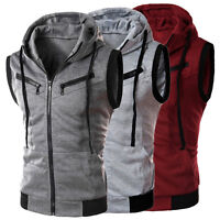 Men Casual Slim Sleeveless Sports Zip Coat Fit Hooded Hoodies Vest Waistcoat Hot