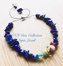 Crystal Gemstone Lapis Lazuli Chip Stone Chakra Adjustable Bracelet Fine String