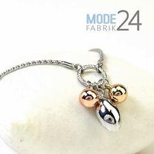 Damen Halskette Silber Glitzer Elements Kette filigran Tropfen Anhänger Rose