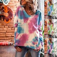 ❤️Women Tie-dye Print Loose V Neck Hooded Hoodie Pullover Blouse Tops Sweatshirt