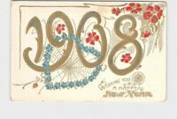 PPC POSTCARD NEW YEARS 1908 FORGET ME NOT WEB PINK FLOWERS GOLD EMBOSSED