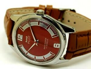 genuine hmt pilot hand winding men steel vintage red dial watch working order