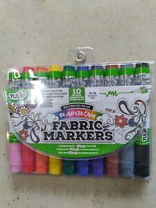 Tulip Rainbow Brush Tip Fabric Markers Permanent Vibrant Colors Set of 10