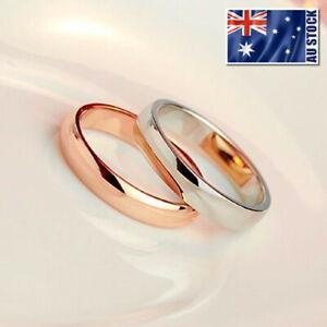 18K White / Rose Gold Filled Classic Plain Band Wedding Engagement Ring Stunning