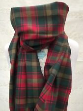 TARTAN TWILL COTTON SCARF - MAPLE LEAF RED GOLD GREEN UNISEX LADIES MENS GIFT