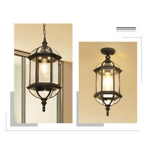 Black/Brass Metal Lantern Clear Glass Outdoor Courtyard Ceiling Flush Mount Loft