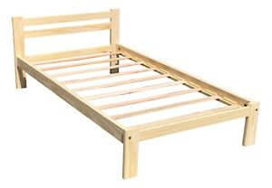 Solid Pine Twin Bed Single Amazonas Wooden Bed Unfinished with Wooden Slats