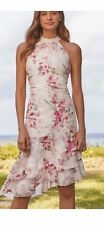 Brand New Lipsy White Red Floral Delilah Halter Neck Dress Size 8