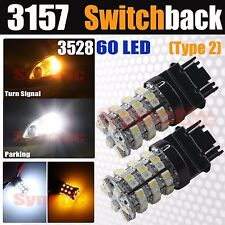 3157 Dual Color Switchback White/Amber LED 60-SMD Turn Signal Corner Light Bulbs