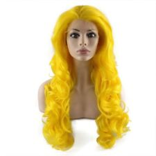 Long Wavy Synthetic Hand Tied Lace Front Yellow Cosplay Party Wig