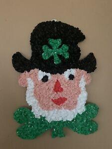 "Vintage LEPRECHAUN Melted Plastic Popcorn St. Patrick's Day Decoration - 15"" In."