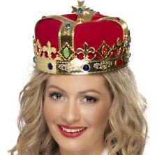 Smiffys Queens Crown Gold PVC Jewels - Red Fabric