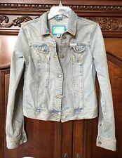 Hollister Womens Juniors Distressed Denim Jean Jacket Stretch Size L Flare Sleev