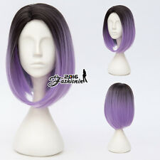 35CM Black Mixed Purple BOB Hair Harajuku Wigs Lolita Daily Ombre Cosplay Wig