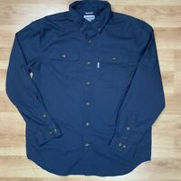 Carhart Men's Large Button Down Long Sleeve Relaxed Fit Blue Shirt