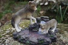 MO0546  FIGURINE STATUETTE  FAMILLE   LOUP   ANIMAL SAUVAGE