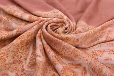 Vintage Indian Printed Saree Silk Craft Peach Dressmaking Fashion Fabric Wrap