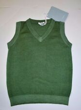 New Beautiful Designer MALO Boys Green Knit Vest 100% Cashmere  2Y ITALY