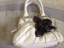 Beautiful Karen Millen White With Black Roses Bag All Leather
