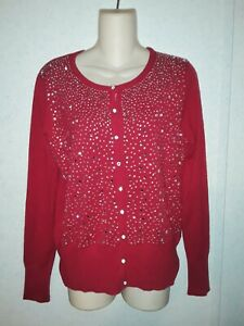 VILA MILANO WOOL BLEND RED JEWELED SWEATER Size M