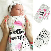 2PCS 0-12M Newborn Baby Blanket Swaddle Sleeping Bag Kids Sack Wrap Headband Set