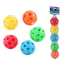 5 Pc Wiffle Balls Plastic Lightweight Durable Pet Play Sport Baseball Perforated