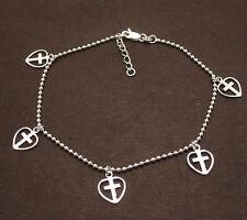 Adjustable Cross in Heart Ball Anklet Bracelet Real Solid 925 Sterling Silver