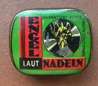 NADELDOSE für Grammophon-Engel Nadeln grün-rot - leer-needle tin empfty