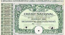 FRANCE NATIONAL CREDIT FOR WAR DAMAGES stock certificate 1920