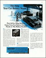 1947 Car batteries Mallory Garage Indianapolis vintage art Print Ad adL59