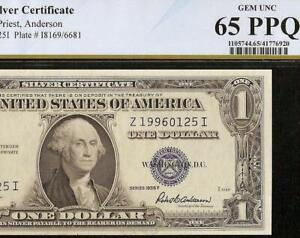 GEM 1935F $1 DOLLAR BILL SILVER CERTIFICATE NOTE PAPER MONEY PCGS 65 PPQ