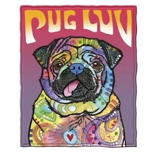 Dean Russo Pug Luv Fleece Throw Blanket