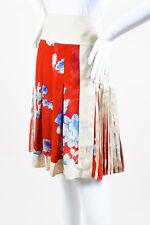 Etro NWT Beige Red Blue Linen Silk Floral Print Pleated Skirt SZ 40