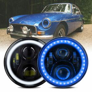 "Pair 7""INCH LED Blue Halo Headlight For MG MGA MGB Midget GT Head Lamps Hi/Lo H4"